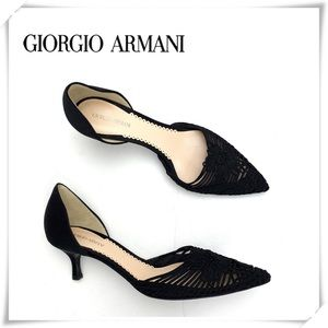 NWOT Giorgio Armani Pointed Toe Satin Pumps Heel
